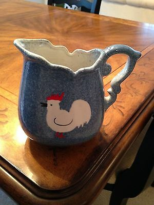 Vintage French County Blue Calico Sponge Ware Pitcher With Rooster