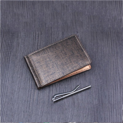 Men's Leather Wallet Bifold ID Credit Card Holder Mini Purse Money Clip Purse 6A