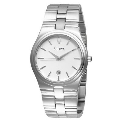 Bulova Men's Quartz White Dial Silver-Tone Bracelet 38mm Watch 96B106