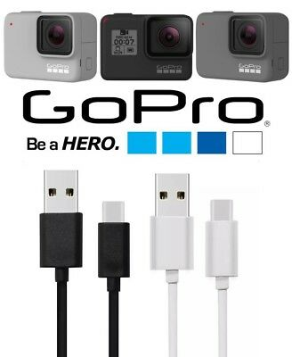 GoPro Hero 7 BLACK USB-C Sync Charger Charging Power Cable Lead USB WHITE SILVER