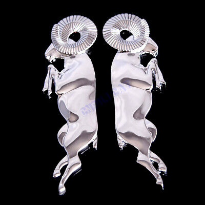 Pair Chrome 3D Leaping Rams Big Horn Body Emblem Stickers for Ram 1500 2500 3500