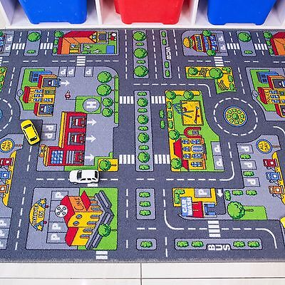Kids Playmat City Toy Map Floor Mat Rug for Car Play Girls Boys Children Bedroom