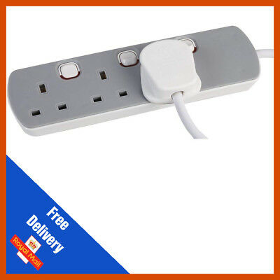 3 Gang Mains Extension Lead 3 Way UK Power Sockets Switched 1m/2m/5m/10m
