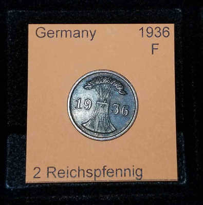 1936 F Germany Weimar Republic 2 Reichspfennig Coin VG