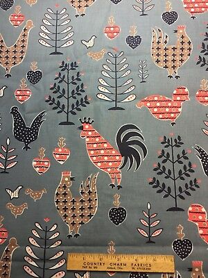 Vintage Cotton Fabric 50s CUTE Roosters Chicks NOVELTY 35w 1+yd