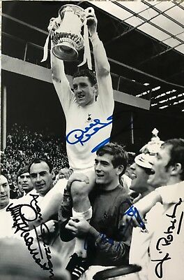 Mackay, Gilzean, Robertson, Jennings Greaves signed 12x8 Tottenham photo AFTAL