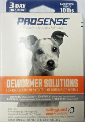 Pro-Sense Dog Dewormer Solutions Safe-Guard 1 Gram, 3 ct. Treats 10 lbs. 12/19