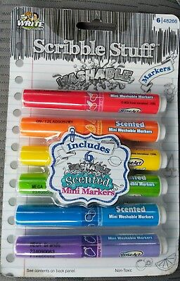 Scented Washable Mini Markers Set of 6 New Sealed