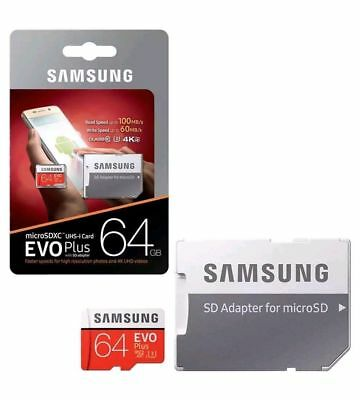 Samsung EVO Plus 64GB  Micro SD SDHC  UHS-1 100MB/s Class10 Memory Cards UK
