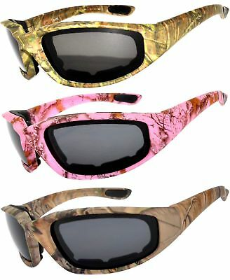 3 Pairs Motorcycle CAMO Padded Foam Sport Glasses Smoke Lens Owl