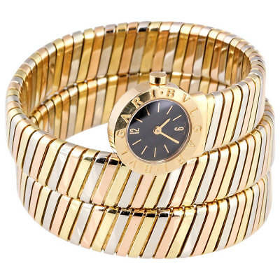 BULGARI Ladies Tricolor 18K Gold Tubogas Snake Quartz Wristwatch, circa 1980s