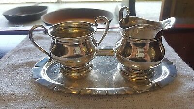 Sterling Silver Sugar and Creamer in Prelude by International C147 With Tray