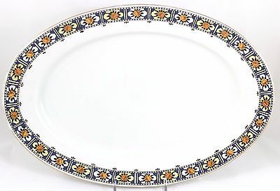 "Vintage 14"" Oval Platter Union T Bavaria China 7531 Art Deco Floral Gold Blue"