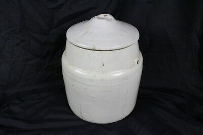 Large Vintage Ceramic Crock w/ Lid Rare Old Collectable Country Decor Stoneware