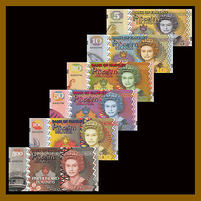 Pitcairn Islands 5 - 500 Shilling (6 Pcs Set), Bank of Fantasy QEII Polymer