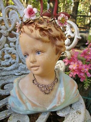 Vintage Chalkware Bust Statue Angel Girl Lady Shabby Chippy Mannequin Head