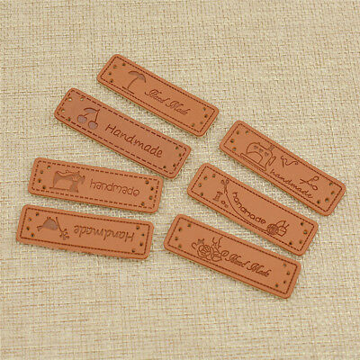 50pcs PU Leather Labels Tags For Clothes Bags Decor Accessories Handmade DIY