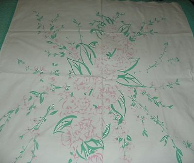 Beautiful Vintage Floral Tablecloth Pinks and Greens 49 X 52