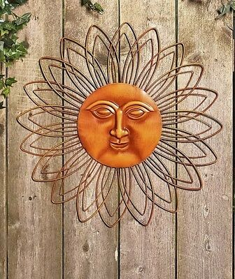 Orange Metal Wall Art Sun Face Deck Porch Patio Fence Garden Outdoor Home Decor