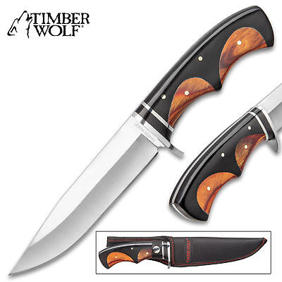 "11"" Timber Wolf Wood Hunting Skinning Survival Fixed Blade Full Tang Knife Bowie"