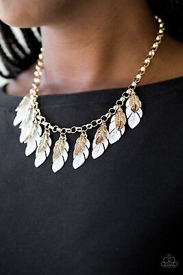 Paparazzi Rule The Roost White Gold Necklace Earrings Fashion Jewelry New