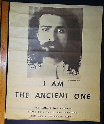 RARE Original 1969 Woodstock Poster - Avatar Meher Baba - Indian Spiritual God