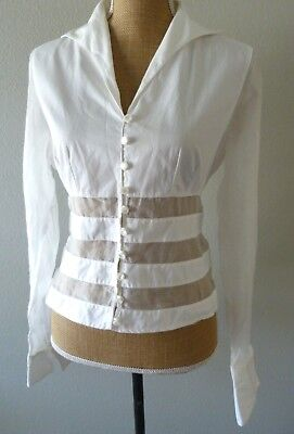 9afa4e0642f28 Anne Fontaine Paris France White Sheer Panels Fitted Blouse Shirt Top Size 3