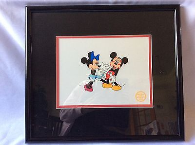 "Disney Sericel ""Mickey's Surprise Party"" Minnie Mouse Serigraph Cel Framed"