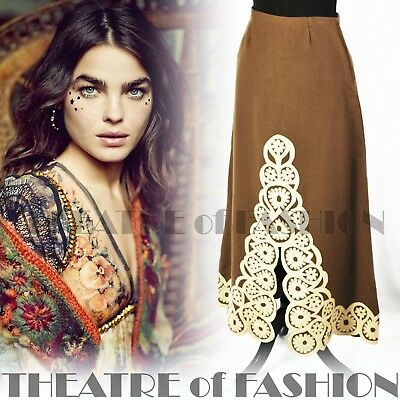 SKIRT 70s FOLK VINTAGE  APPLIQUE HAND EMBROIDERED BOHO GODDESS HIPPY-LUXE WOOL