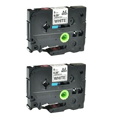 """US Stock 2PK TZ-221 TZe-221 Black on White Label Tape For Brother P-Touch 3/8"""""""