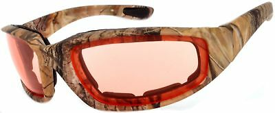 Motorcycle Camouflage Padded Foam Sport Glasses Pink Lens Owl
