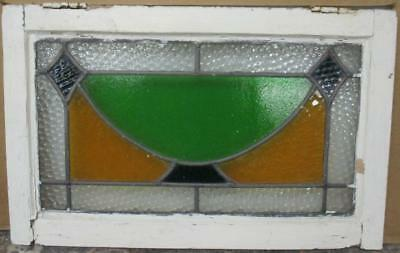 "MID SIZED OLD ENGLISH LEADED STAINED GLASS WINDOW Nice Geometric 23.25"" x 14.75"""
