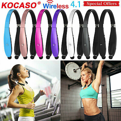 Retractable Bluetooth Headset Foldable Headphone Wireless Sport Neckband Earbuds
