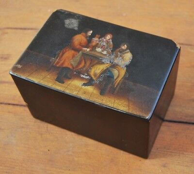 Antique Russian Papier Mache lacquer Tea caddy with painted scene c1880