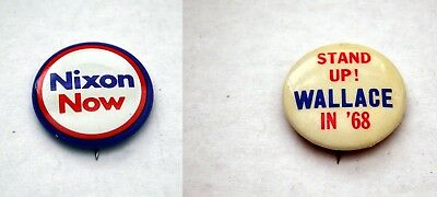 NIXON NOW & GEORGE WALLACE for PRESIDENT vintage political campaign Button Lot