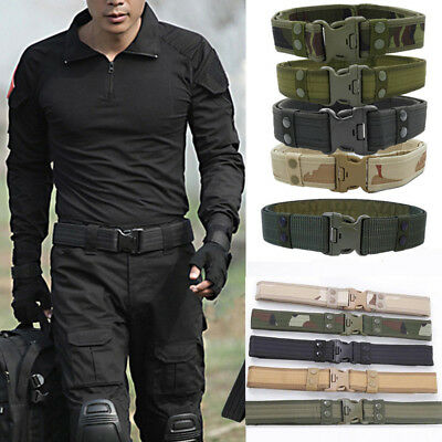 Outdoor Tactical Belt Men's Military Belts Army Canvas Adjustable Waistband New