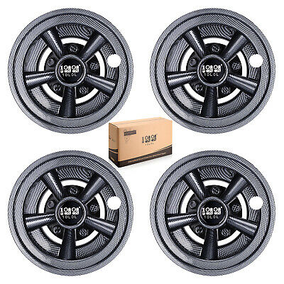 "(4)Carbon Fiber Golf Cart 8"" SS Wheel Covers Hub Caps for Yamaha/Club CAR/EZ-GO"