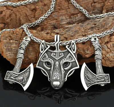 Men's Antique Silver/Brown Norse Viking Wolf&Crow Axe Pendant Necklace Gifts
