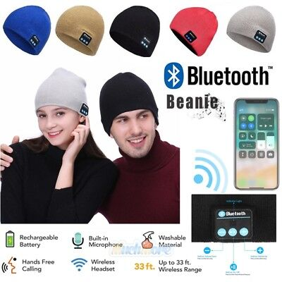 2018 Warm Beanie Hat Wireless Bluetooth Smart Cap Headset Headphone Speaker Mic