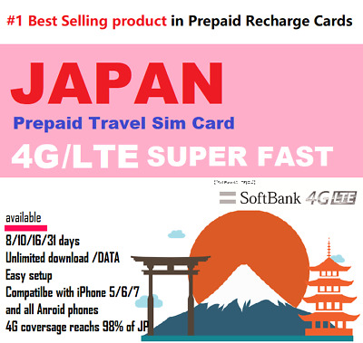 Japan Travel - 30 days Prepaid data SIM card 4G/LTE UNLIMITED Softbank Network
