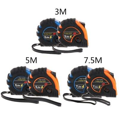 7.5m 3m 5m 3-Way-Lock Metric Retractable Tape Measure Rubber Measuring Tape Rule