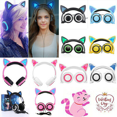 Foldable Cat Ear LED Lights Headphones Earphone Gaming Flashing Headset New