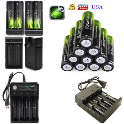 5800mAh Rechargeable 18650 Battery 3.7V Li-ion Batteries Cell Smart Charger