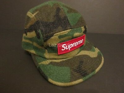9d8ff581b35 Rare Supreme New York Logo Army Military Green Camo Wool Camp Cap Hat Sold  Out