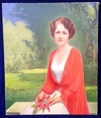 "Lovely Vintage Portrait Painting ""Lady w/ Poinsettia"" Vibrant Colors Oil Canvas"