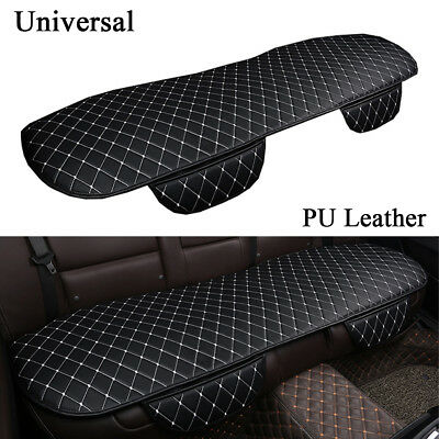 Universal Black PU Leather Car Back Seat Cover Rear Sit Durable Mat White Seam