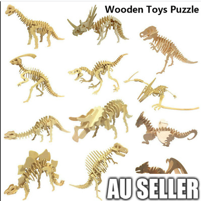 3D Wooden Puzzle Simulation Animal Fun Gift Dinosaur Assembly 6 Style DIY Model