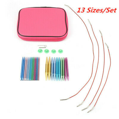 13 Sizes/Set Interchangeable Aluminum Circular Knitting Needle Sets 2.75mm-10mm