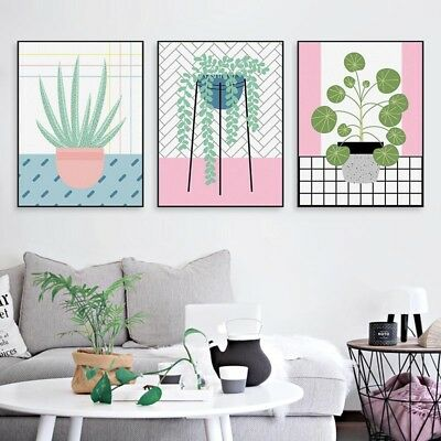 Green Plant Leaf Poster Print Nordic Home Kitchen Decor Wall Art Canvas Painting