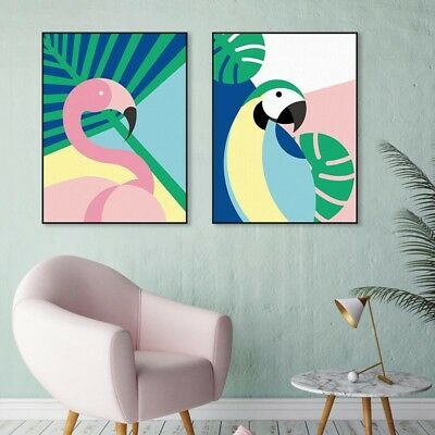 Modern Abstract Birds Flamingo Posters Print Home Decor Wall Art Canvas Painting